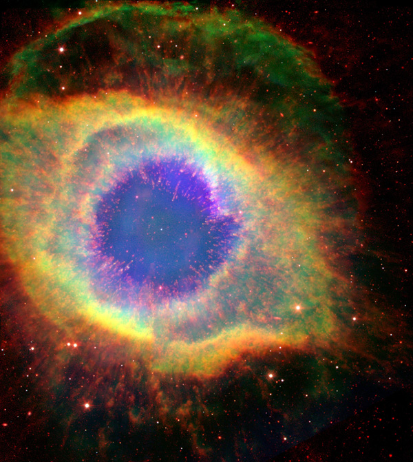 Six hundred and fifty light-years away in the constellation Aquarius, a dead star about the size of Earth, is refusing to fade away peacefully. NASA's Hubble and Spitzer Space Telescopes have captured the complex structure of the Helix nebula.