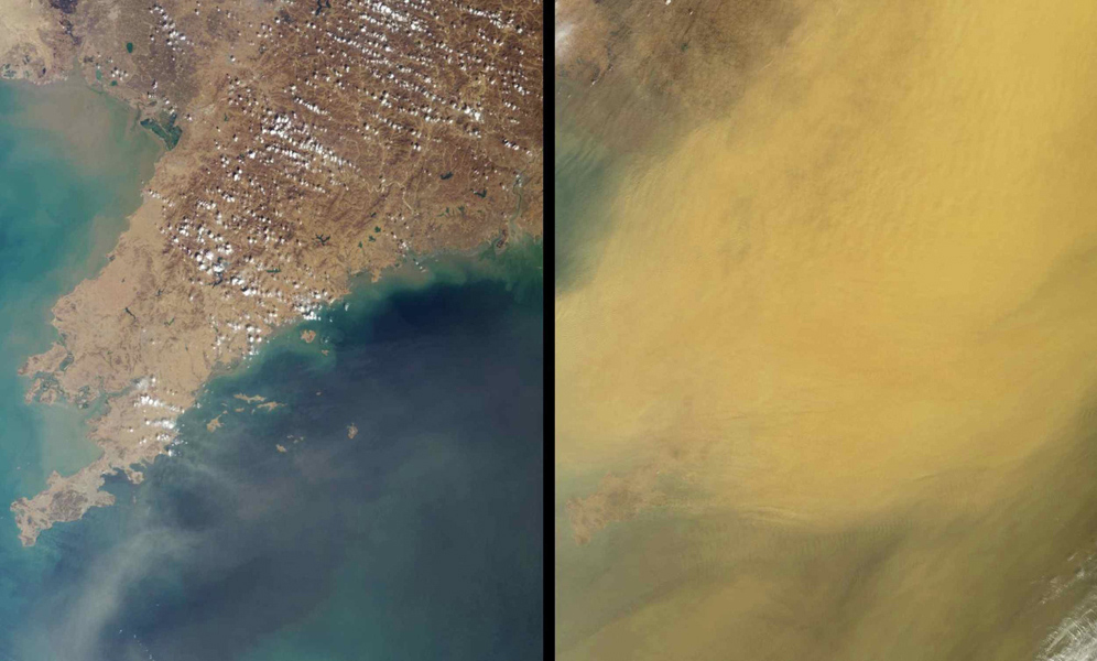 This pair of images, acquired 16 days apart by NASA's Terra satellite in 2002 and 2007, covers the Liaoning region of China and parts of northern and western Korea, comparing a relatively clear day and an extremely dusty day.