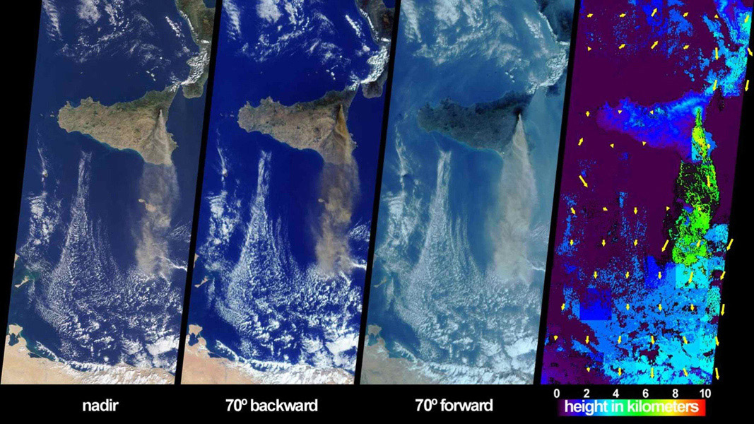 The height and southward extent of the ash plume emanating from Sicily's Mount Etna volcano on October 27, 2002 are captured in these four image panels from NASA's Terra spacecraft.
