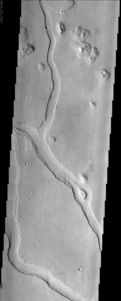 Hebrus Valles is located in the Elysium Planitia region of the northern lowlands of Mars. This image from NASA's Mars Odyssey spacecraft shows three sinuous tributaries of the channel system which carved up the surrounding plains.