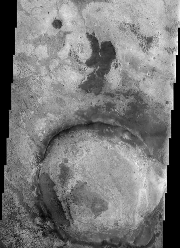 This image by NASA's Mars Odyssey illustrates the complex terrains within Terra Meridiani. This general region is one of the more complex on Mars, with a rich array of sedimentary, volcanic, and impact surfaces that span a wide range of Martian history.