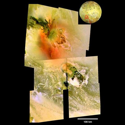 Repeated flybys of Io by NASA's Galileo spacecraft have allowed scientists to develop an understanding of Io's Tohil-Culann region of interconnected volcanoes and mountains.