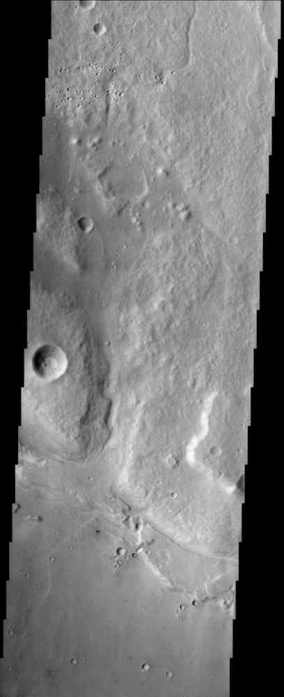This image from NASA's Mars Odyssey covers a portion of Ares Valles, an outflow channel carved into the surface of Mars by ancient catastrophic floods.