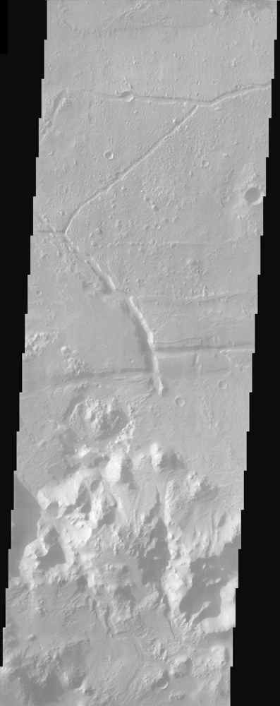 Ripple bedforms fill large fractures near the southern rim of Holden Crater in this image from NASA's Mars Odyssey spacecraft.