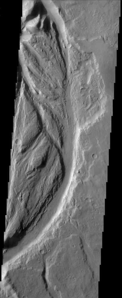 Streamlined channels near Lucus Planum can be seen in this image from NASA's Mars Odyssey spacecraft. These features were formed by catastrophic floods in the Martian past.