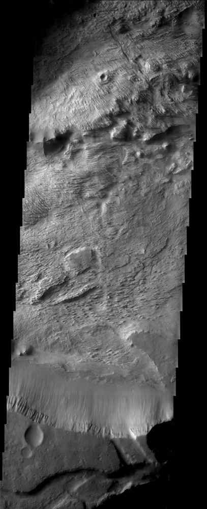 The layered deposits in this Valles Marineris canyon imaged by NASA's Mars Odyssey spacecraft are heavily eroded by the wind into an impressive array of yardangs and swirling patterns of layers. The origin of the deposits remains a mystery.