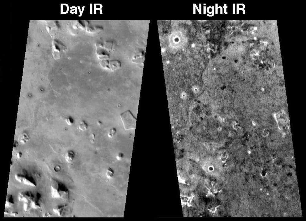 This pair of infrared images from NASA's Mars Odyssey spacecraft shows the so-called 'face on Mars' landform viewed during both the day and night.