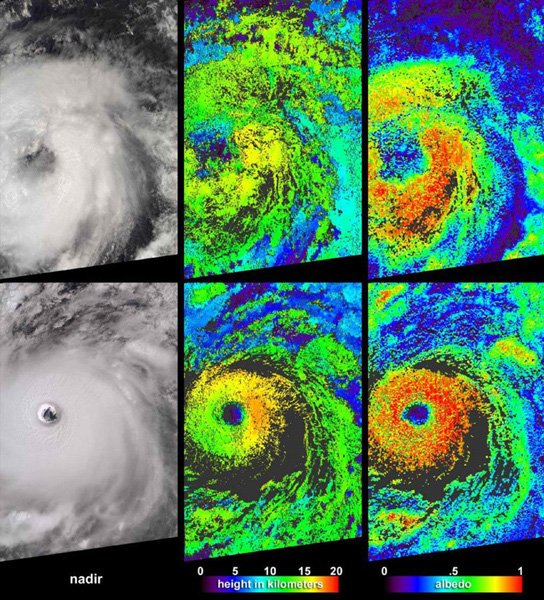 Cloud-top radiance and height characteristics of Hurricane Isabel are depicted in these data products and animations from NASA's Terra spacecraft on September 7, 2003.