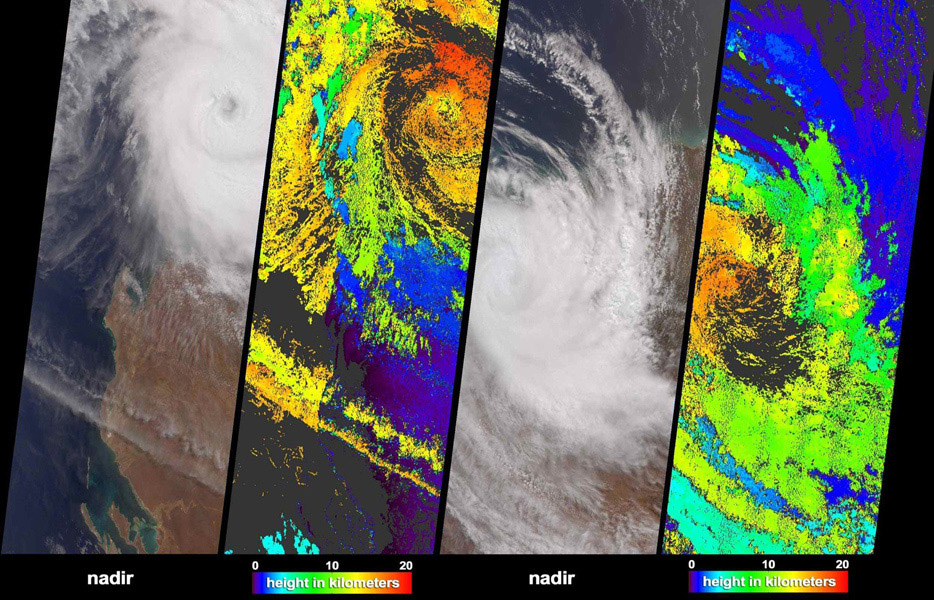 NASA's Terra spacecraft acquired these natural color images and cloud top height measurements for Monty before and after the storm made landfall over the remote Pilbara region of Western Australia, on February 29 and March 2, 2004.