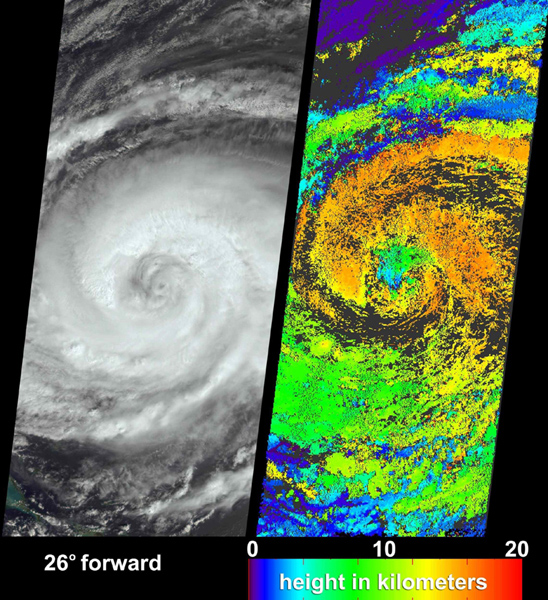 These visualizations of Hurricane Jeanne on September 24, 2004 were captured by NASA's Terra spacecraft after the hurricane caused widespread destruction on Puerto Rico, Haiti and the Dominican Republic.