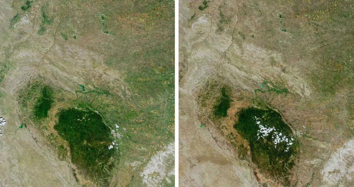 Despite good rainfall and record-setting snowstorms in the spring of 2005, most of northeastern Wyoming, the Black Hills, and western South Dakota remained in the midst of a severe drought. These images are from NASA's Terra spacecraft.