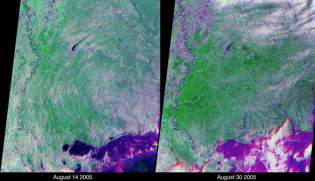 These views of the Louisiana and Mississippi regions were acquired before and one day after Katrina made landfall along the Gulf of Mexico coast. The images were acquired by NASA's Terra spacecraft on August 14 and August 30, 2005.