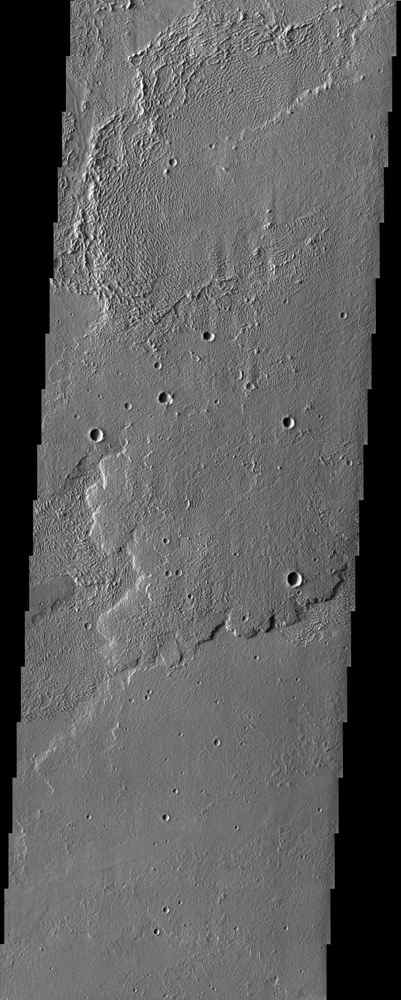 Interesting textures on lava flows in Daedalia Planum, southwest of the Tharsis volcanoes, can by observed in this image from NASA's Mars Odyssey spacecraft.