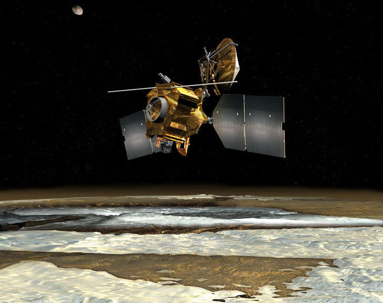 NASA's Mars Reconnaissance Orbiter passes over the planet's south polar region in this artist's concept illustration.