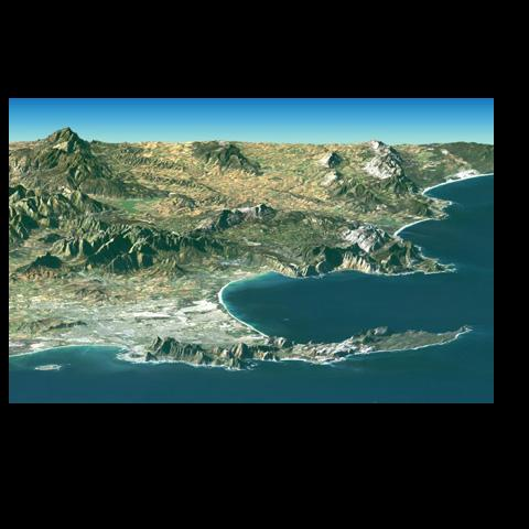 Cape Town and the Cape of Good Hope, South Africa, appear in the foreground of this perspective view generated from a Landsat satellite image and elevation data from NASA's Space Shuttle Endeavour.