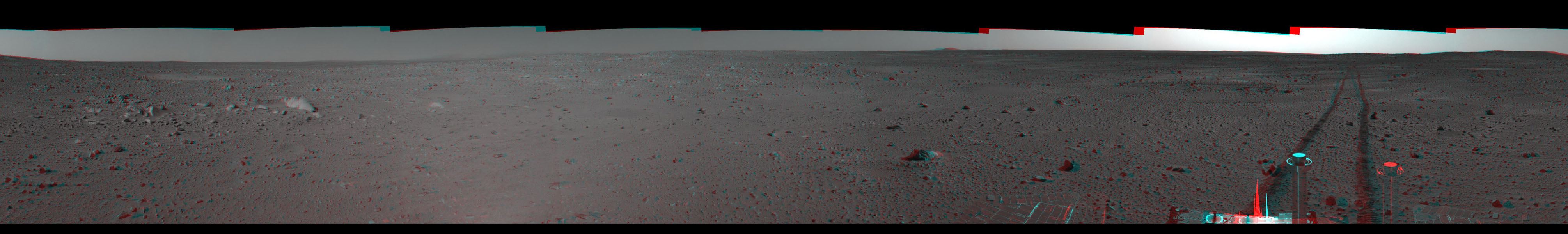 This 3-D cylindrical-perspective mosaic was created from navigation camera images that NASA's Mars Exploration Rover Spirit captured on on sol 101. 3D glasses are necessary to view this image.