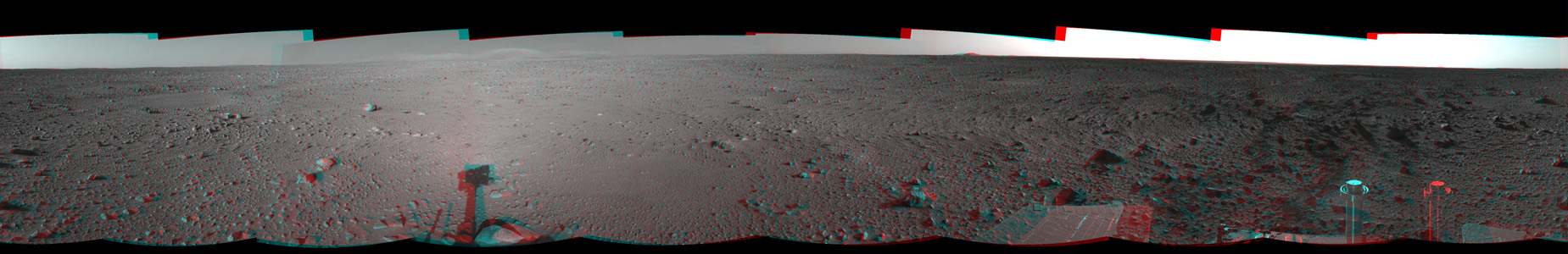 This 3-D cylindrical-perspective mosaic was created from navigation camera images that NASA's Mars Exploration Rover Spirit captured on on sol 124. 3D glasses are necessary to view this image.