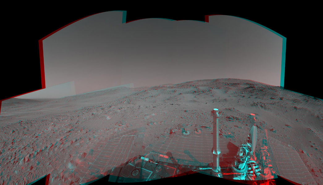 An attempted drive NASA's Mars Exploration Rover Spirit on Feb. 15, 2005 did not gain any ground toward nearby 'Larry's Lookout' because of slippage that churned the soil on the slope. 3-D glasses are necessary to view this image.