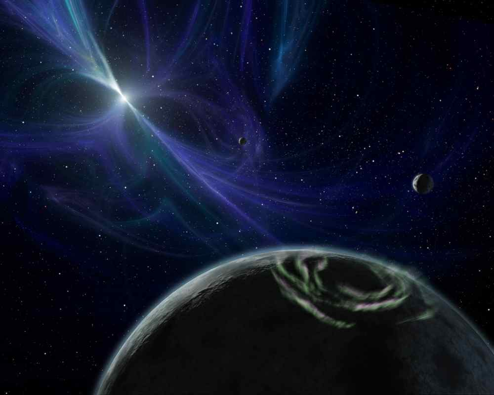 This artist's concept depicts the pulsar planet system discovered by Aleksander Wolszczan in 1992. Wolszczan used the Arecibo radio telescope in Puerto Rico to find three planets circling a pulsar called PSR B1257+12.