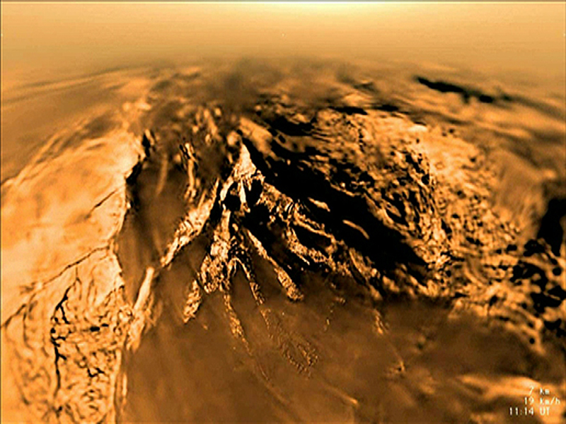 This image is from data collected during the 147-minute plunge through Titan's thick orange-brown atmosphere to a soft sandy riverbed by the European Space Agency's Huygens Descent Imager/Spectral Radiometer on Jan. 14, 2005.
