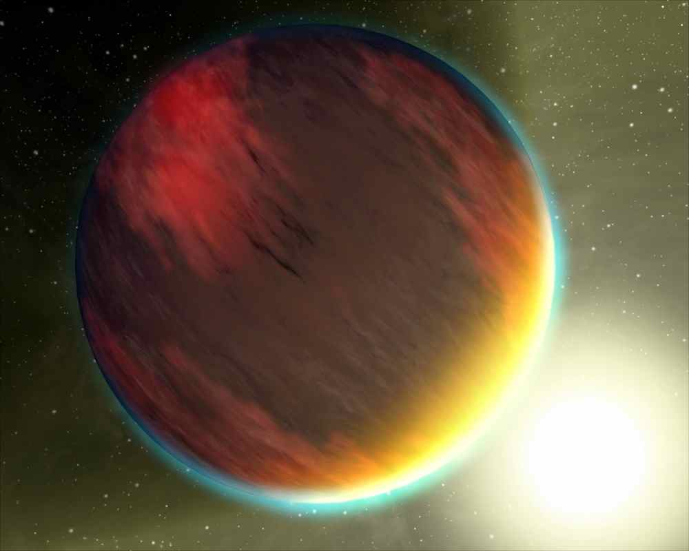 This artist's concept, based on spectral observations from NASA's Hubble Space Telescope and Spitzer Space Telescope, shows a cloudy Jupiter-like planet that orbits very close to its fiery hot star.