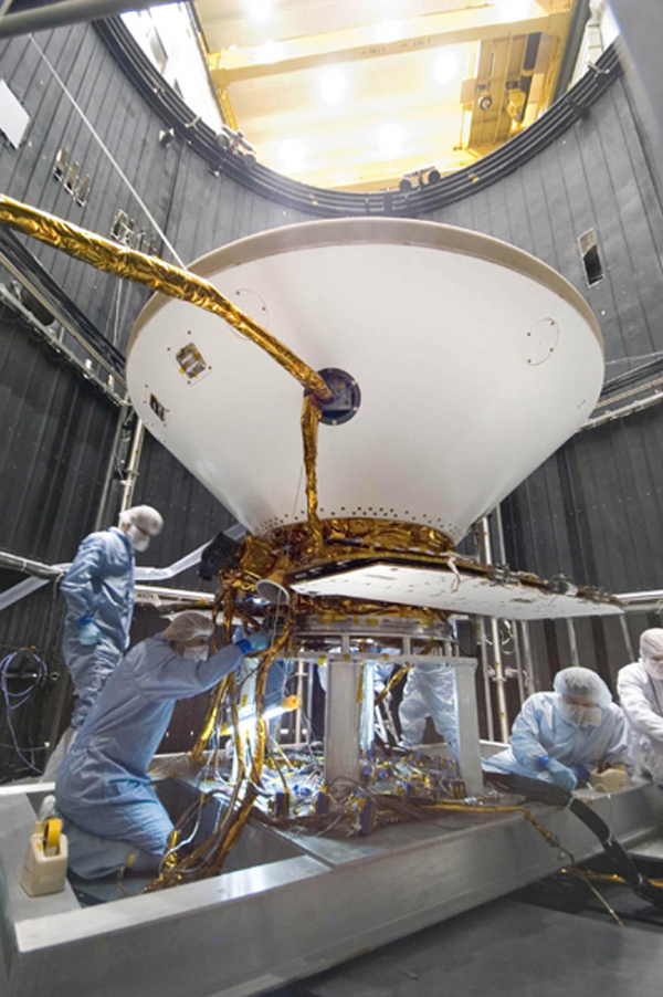 Inside a thermal vacuum at Lockheed Martin Space Systems, Denver, technicians prepared NASA's Phoenix Mars Lander for environmental testing