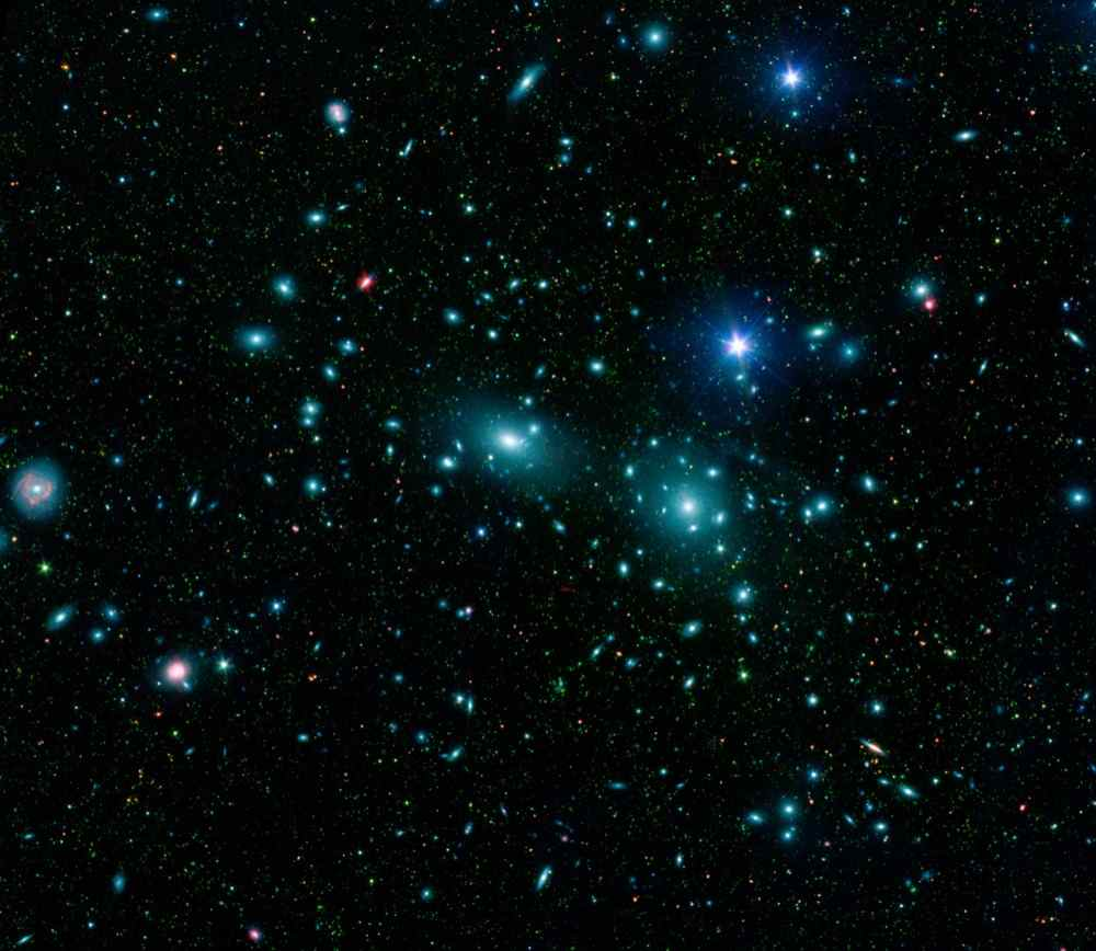 Two large elliptical galaxies, NGC 4889 and NGC 4874 are shown in this image from NASA's Spitzer Space Telescope.