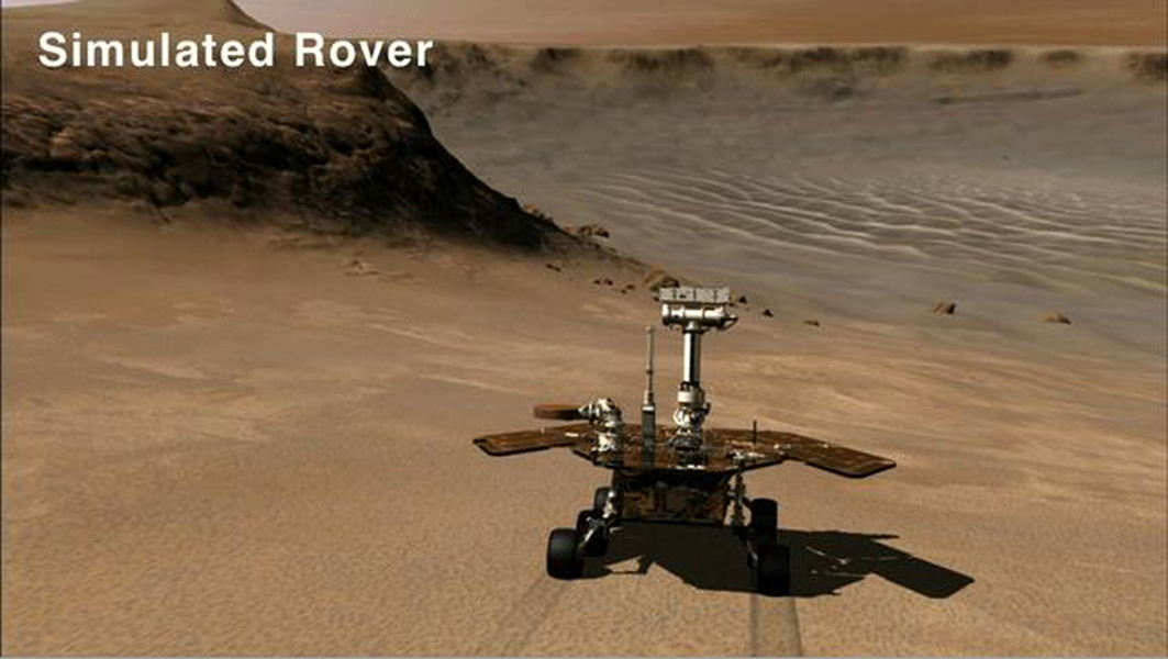 This frame from an animation shows a simulated rover descending into Victoria Crater via the rock-paved slopes of an alcove informally named 'Duck Bay.'