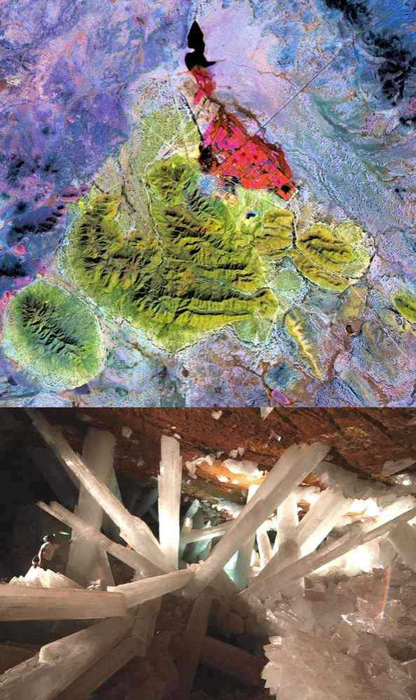 The Naica mine in Chihuahua, Mexico, with its enormous gypsum crystals, may well be called the 'Queen of the Giant Crystals localities.' This image was acquired by NASA's Terra satellite on February 16, 2004.