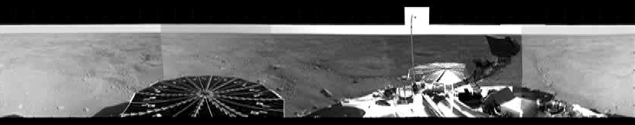 This from NASA's Phoenix Mars Lander's Stereo Surface Imager (SSI) camera shows Phoenix's parachute, backshell, heatshield, and impact site.