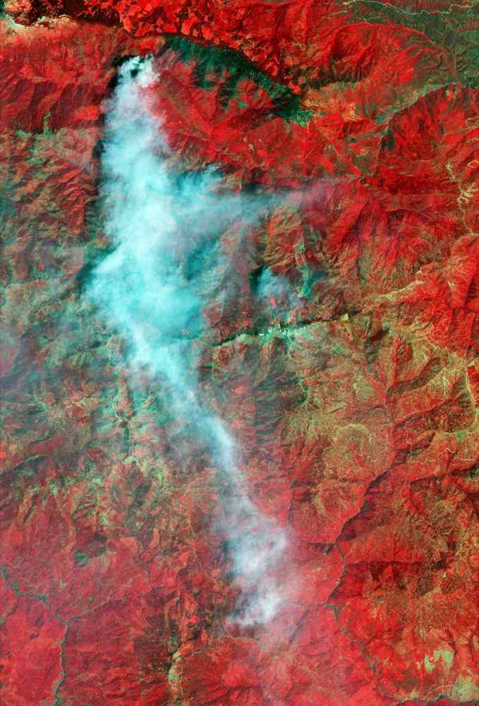 The Yolla Bolly Complex Wildland Fire was started on June 21, 2008 by a lightning strike. This image was acquired by NASA's Terra spacecraft.