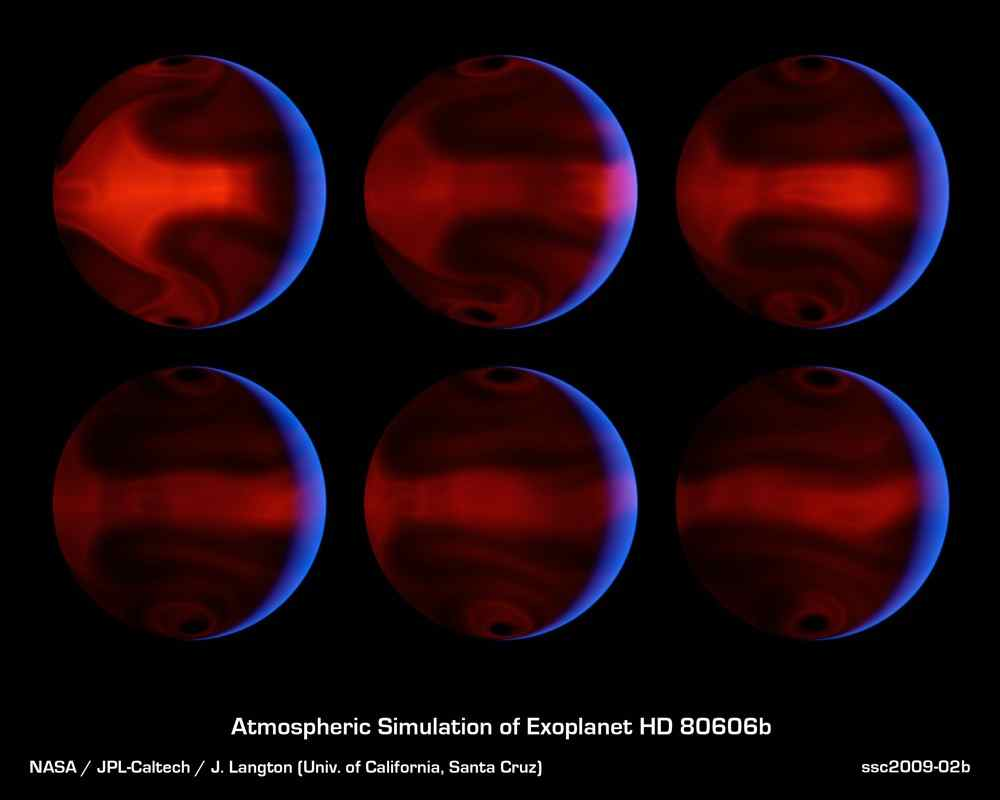 These computer-generated images from NASA's Spitzer Space Telescope chart the development of severe weather patterns on the highly eccentric exoplanet HD 80606b during the days after its closest approach to its parent star.