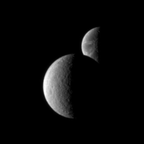 Saturn's moon Rhea passes in front of Dione, as seen from NASA's Cassini spacecraft. These images are part of a 'mutual event' sequence in which one moon passes close to, or in front of, another.