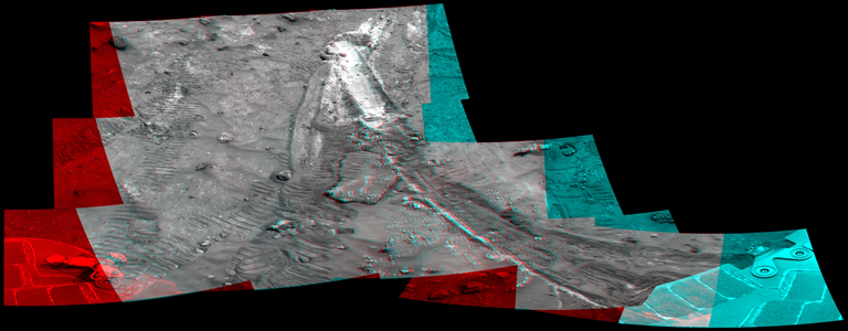 NASA's Mars Exploration Rover Spirit acquired this mosaic on May 21, 2007, while investigating the area east of the elevated plateau known as 'Home Plate' in the 'Columbia Hills.' 3D glasses are necessary to view this image.