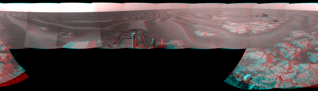 NASA's Mars Exploration Rover Opportunity combined images into this stereo, 360-degree view of the rover's surroundings on March 12, 2009. 'Cook Islands' is visible just below center of this image. 3D glasses are necessary to view this image.