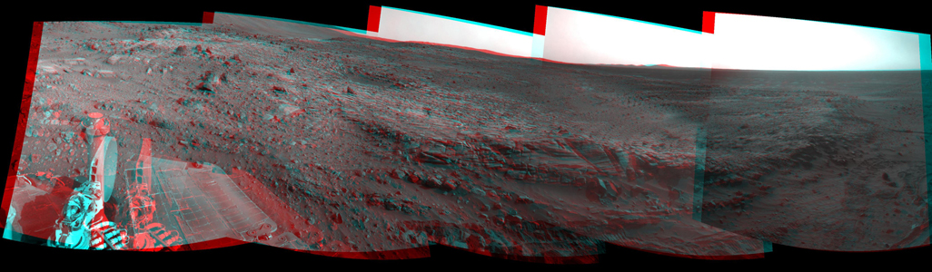 NASA's Mars Exploration Rover Spirit used its navigation camera to take the images that have been combined into this stereo, 180-degree view of the rover's surroundings on Feb. 17, 2009. 3D glasses are necessary to view this image.