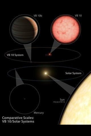 This artist's diagram compares our solar system (below) to the VB 10 star system. Astronomers successfully used the astrometry planet-hunting method for the first time to discover a gas planet, called VB 10b, around a very tiny star, VB 10.