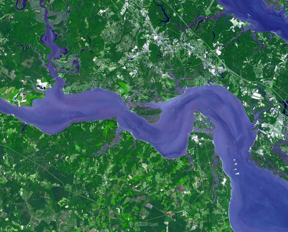 Jamestown, located on Jamestown Island in the Virginia Colony, was founded on May 14, 1607. NASA's Terra spacecraft acquired this image on September 4, 2007.