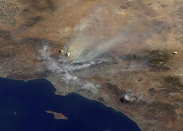 The Multi-angle Imaging SpectroRadiometer (MISR) instrument on NASA's Terra satellite captured this Aug. 30 image of smoke plumes from the Station and other wildfires burning throughout Southern California.