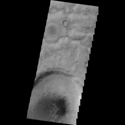 NASA's 2001 Mars Odyssey image shows a field of individual dunes in an unnamed crater in Aonia Terra.