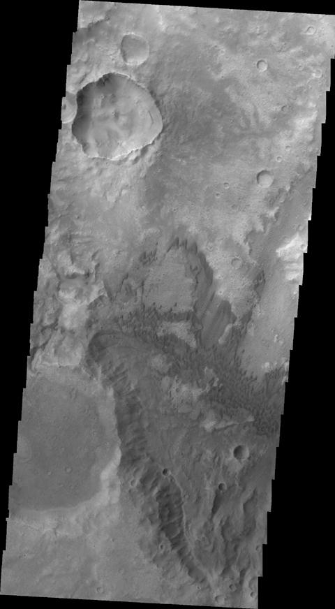 This image, taken by NASA's Mars Odyssey, shows dunes of several sizes in Terra Cimmeria.