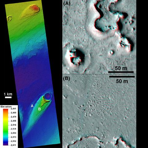 This combination of images, taken by NASA's Mars Reconnaissance Orbiter, helped researchers analyze the youngest flood lava on Mars, which is in Athabasca Valles, in the Elysium Planitia region of equatorial Mars.