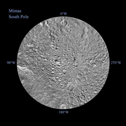The southern hemisphere of Saturn's moon Mimas is seen in these polar stereographic maps, mosaicked from the best-available NASA's Cassini and Voyager images.