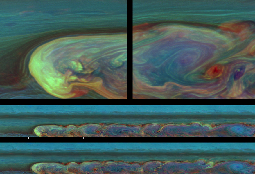 These false-color images from NASA's Cassini spacecraft chronicle a day in the life of a huge storm that developed from a small spot that appeared 12 weeks earlier in Saturn's northern mid-latitudes.