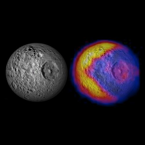 This image shows NASA's Cassini spacecraft's imaging science subsystem visible-light mosaic of Mimas from previous flybys on the left. The right-hand image shows new infrared temperature data mapped on top of the visible-light image.