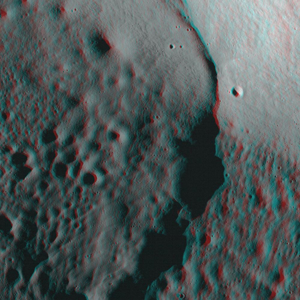 NASA's Lunar Reconnaissance Orbiter's looks at the Moon in 3-D. 3-D glasses are necessary to view this image.