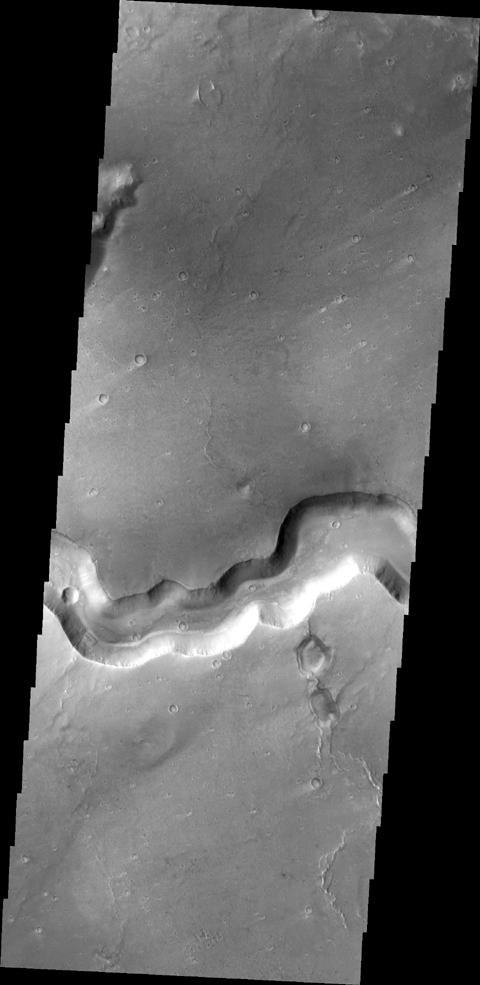 This image captured by NASA's 2001 Mars Odyssey spacecraft shows a section of Bahram Vallis.