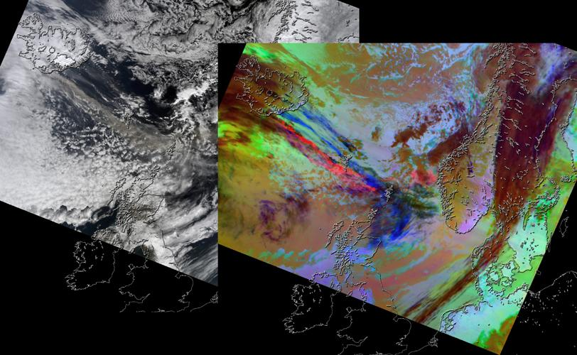 On April 15, 2010, NASA's Terra spacecraft captured these images of the ongoing eruption of Iceland's Eyjafjallajökull Volcano, which continues to spew ash into the atmosphere and impact air travel worldwide.