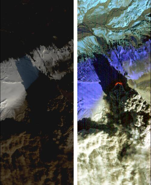 On Saturday, April 17, 2010, NASA's Earth Observing-1 (EO-1) spacecraft obtained this pair of images of the continuing eruption of Iceland's Eyjafjallajökull volcano. On the left, new black ash deposits are visible on the ground.