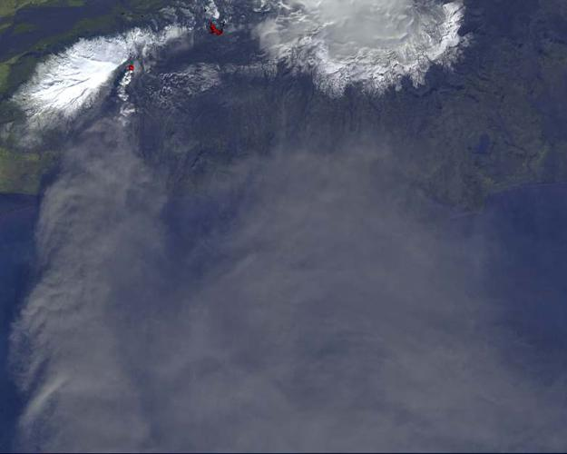 On Monday, April 19, 2010, the Advanced Spaceborne Thermal Emission and Reflection Radiometer (ASTER) instrument onboard NASA's Terra spacecraft obtained this image of the continuing eruption of Iceland's Eyjafjallajökull volcano.